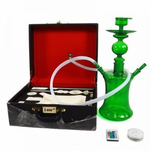 Green Glass Hookah with Remote Control LED Light