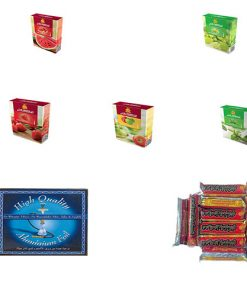 5 Series of Shisha Flavors, Aluminum Foil & Quick Golden Lighting Coal