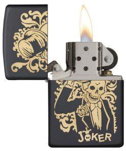 Zippo Windproof Black Lighter With Skeleton Joker & Top Hat 29632