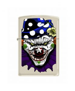 Zippo Windproof Cream Colored Lighter With Evil Clown 24468