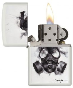 Zippo Windproof Flame Art Lighter by Spazuk With Gas Mask 29646