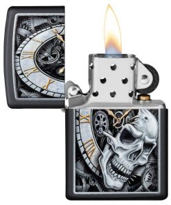 Zippo Windproo Lighter With Steampunk Clock & Skull 29854