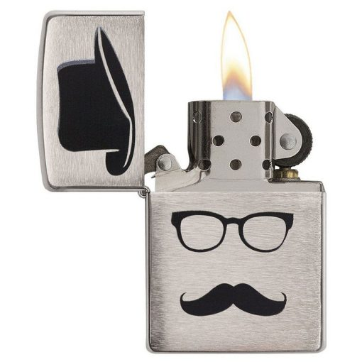 Zippo Windproof Lighter With Top Hat Moustache And Glasses 28648