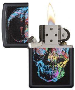 Zippo Windproof Skull Lighter Finish Is Black Matte 28042