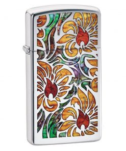 Zippo Windproof Slim Chrome Lighter With Fusion Floral Design 29702